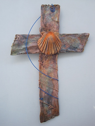 copper wall cross with polymer shell