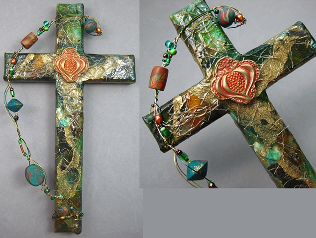 collage on wood cross with polymer clay pomegranate symbol Nancy Denmark Patti Reed