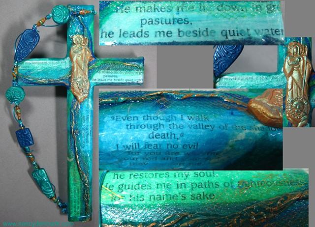 Psalm 23 collage wall cross by Nancy Denmark
