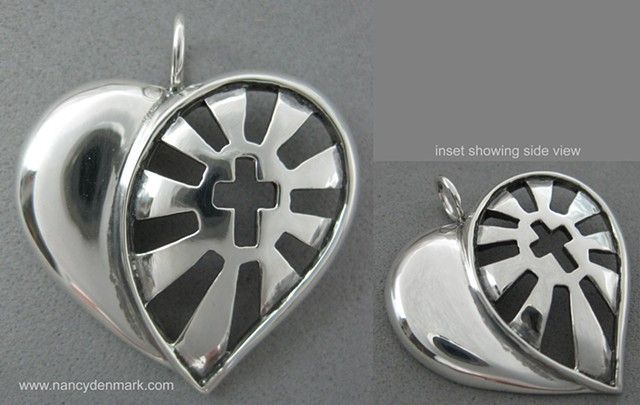 sterling silver sunburst cross in heart pendant symbolic jewelry © Nancy Denmark