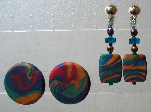 earclip dangles and earbobs made of polymer clay by Nancy Denmark