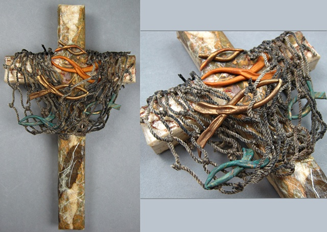 wood collage wall cross Cast Your Nets theme Nancy Denmark Patti Reed