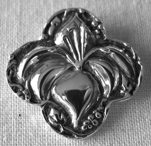 sterling silver quatrefoil pendant with lily © Nancy Denmark
