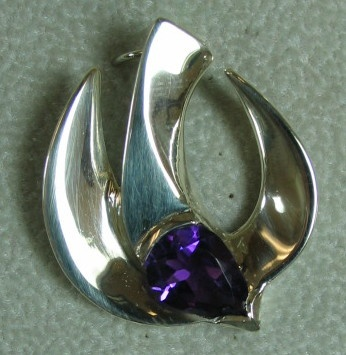 sterling silver descending dove pendant with amethyst © Nancy Denmark