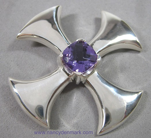 sterling silver Canterbury Cross with Amethyst © Nancy Denmark