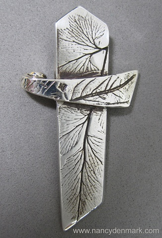 sterling silver cross with nature impressions by Nancy Denmark