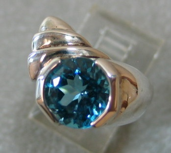 STERLING W/ BLUE TOPAZ RING VIEW 2