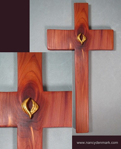 Filled With The Spirit descending dove on cedar wall cross by Nancy Denmark Margaret Bailey