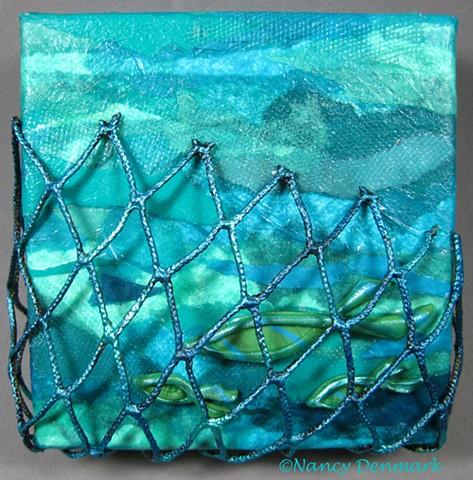 """Cast Your Nets"" small symbolic canvas ©Nancy Denmark"