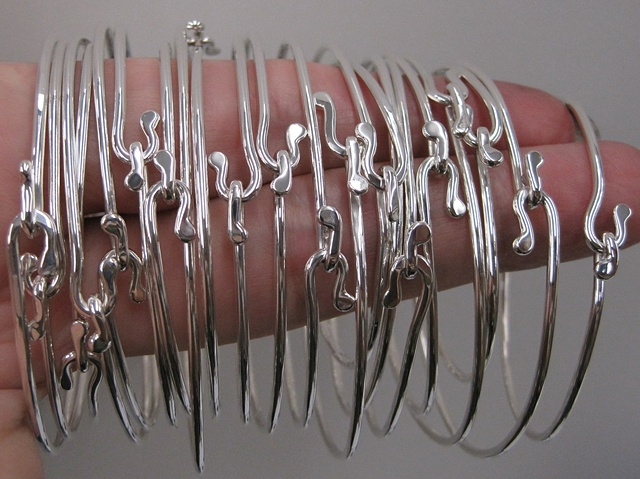 handmade sterling silver hook on wire bracelet