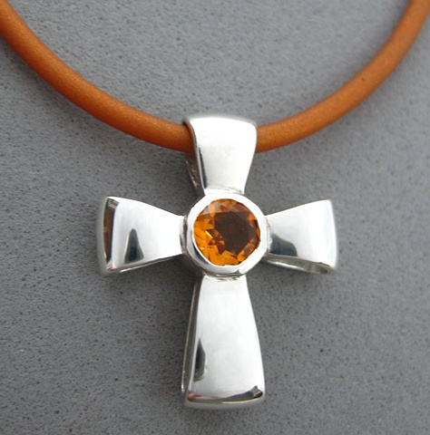 sterling silver ribbon cross with faceted citrine © Nancy Denmark
