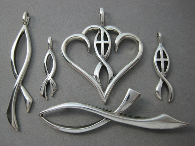 sterling silver ichthus jewelry designs with Christian symbolism ©Nancy Denmark