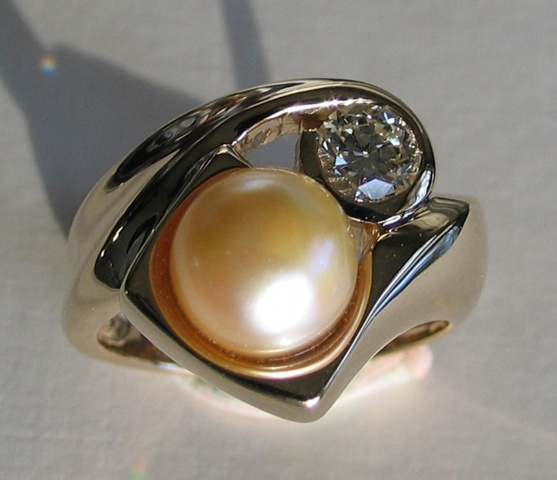 Golden Pearl and Diamond Ring