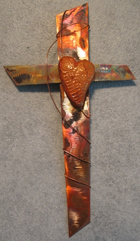 COPPER WITH SINGLE CLAY HEART (SOLD)