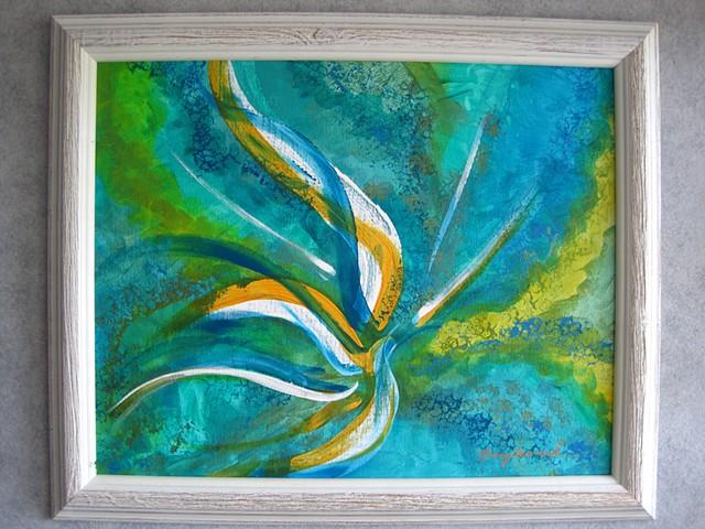 """""""Bird of Paradise"""" framed ©Nancy Denmark"""