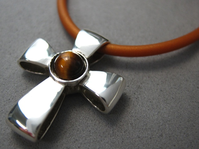 sterling silver ribbon cross with tigereye by Nancy Denmark