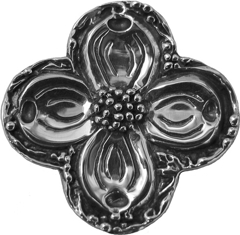 sterling silver quatrefoil pendant with dogwood © Nancy Denmark