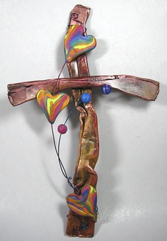 copper cross with polymer clay hearts by Nancy Denmark & Ken Webb