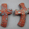 2 BROWN HAND CROSSES W/ BLUES  BUTTERFLY & LEAF DETAIL STAMPING