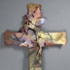 COPPER WALL CROSS WITH GRAPE LEAVES 4 (SOLD)