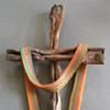 SHROUDED CROSS W/ GOLD, TURQUOISE, & ORANGE