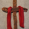 COPPER CROSS WITH RED SHROUD (SOLD)