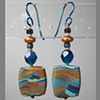 BLUES & GOLD FLAT RECTANGLE POLYMER CLAY BEADED EARRINGS