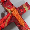 GOOD SHEPHERD COLLAGE CROSS RED & GOLD CLOSE UP