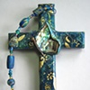 PAUA SHELL BUTTERFLY COLLAGE CROSS
