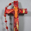 GOOD SHEPHERD COLLAGE CROSS RED AND GOLD