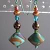 GOLD BLUE & TURQUOISE POLYMER CLAY BEADED EARRINGS
