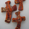 3 BROWN HAND CROSSES WITH MAROON SWIRLS