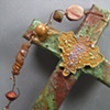 GRAPES & LEAVES GREEN AND BRONZE COLLAGE CROSS CLOSE UP