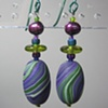 PURPLE & GREEN  POLYMER CLAY BEADED EARRINGS