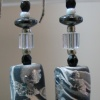 BLACK, WHITE & SILVER POLYMER CLAY EARRINGS