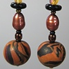 BLACK, GOLD, COPPER  POLYMER CLAY BEADED EARRINGS