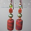 CORAL & OLIVE  POLYMER CLAY BEADED EARRINGS