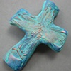 AQUA HAND CROSS W/ DRAGONFLY IMPRESSION
