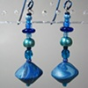 BLUE BICONE  POLYMER CLAY BEADED EARRINGS