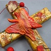 BUTTERFLY WITH LEAVES ON RED & GOLD COLLAGE CROSS