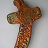 BROWN & GREEN HAND CROSS WITH STARS