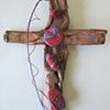 RED & PURPLE BEADED COPPER WALL CROSS