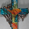 CAST YOUR NETS WALL CROSS  TEAL WITH ORANGE FISH