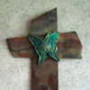 TEAL BUTTERFLY ON COPPER 3 (SOLD)