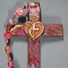HEART ABLAZE COLLAGE CROSS  MUTED PINK