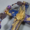 ECW BUTTERFLY COLLAGE CROSS PURPLE & GOLD CLOSE UP
