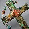 BURSTING POMEGRANATE QUATREFOIL ON GREEN & BRONZE COLLAGE CROSS