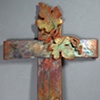 COPPER WALL CROSS WITH GRAPE LEAVES 2