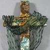 CAST YOUR NETS COLLAGE CROSS (TEAL & BROWN)