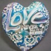 LOVE NEVER FAILS HAND FULL OF LOVE HEART BLUE & PURPLE
